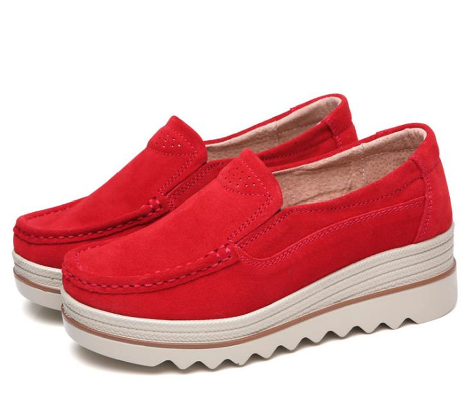 Plus En Pu Top Casual red blue Sneakers Black Cuir Respirant Mocassins forme apricot Wedge Mode Chaussures grey Taille Plate Femmes La Bout Femme Rond Damet Automne xr0wIUY0qF