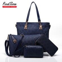 FIND TIME Ladies Shoulder Bag Woman New Fashion Simple Color Embossed Large Capacity Mobile Phone Bag Zipper PUwoman Handbag Hot