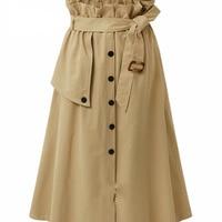 2017 Korean Ruffle High Waist Cotton Skirt Women Autumn Winter A Line Long Maxi Skirt Falda