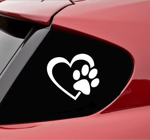 100 pieces lot 11x9 3CM Heart Paw Vinyl Decal car sticker engine hood window stickers nick