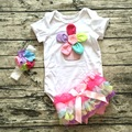 New Summer Baby Girl birthday Clothing Cotton Rainbow Short Sleeve Rompers And Ruffle Bloomers Newborn Infant Girls Clothes Sets