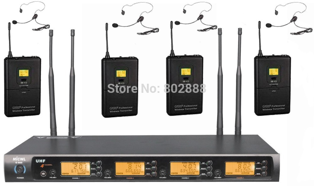 MICWL 4x800 Channel UHF Diversity Wireless 4 Headset with Bodypack DJ Karaoke Microphone Mic Set System