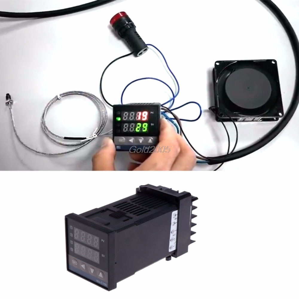 цена на PID Digital Temperature Controller REX-C100 0 To 400degree K Type Input SSR Output Temp Controller G25 Drop ship