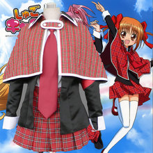 Japan Free shipping Hot Anime Shugo Chara cosplay Hinamori Amu cos School uniforms full set(coat+shirt+tie+skirt+cloak)