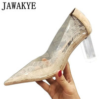 Rhinestone heel women pumps clear PVC cut out lace high heels sexy pointed toe shallow wedding shoes Zapatos Mujer 2019