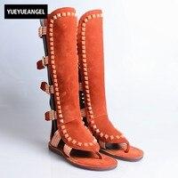 Уличные сандалии гладиаторы в стиле ретро с вырезами, женские сандалии до колена с открытым носком на плоской подошве с перекрестной шнуров
