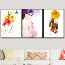 Watercolor Nude Sexy Woman Wall Art Canvas Painting Nordic Posters And Print Pictures For Living Room Naked Girl Home Decor