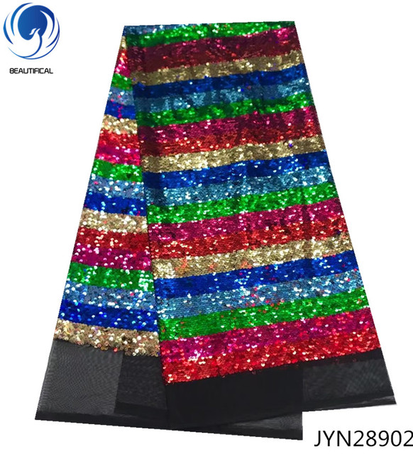 BEAUTIFICAL Fish scales nigerian sequin lace fabrics african sequins lace fabric 2018 multicolor latest net laces 5yards JYN289