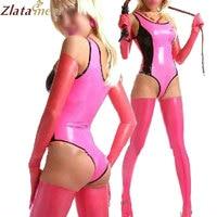 Sexy Women Latex Bodice with GlovesPlus Size Rubber Fetish Bodysuit Sexy Zentai Suit Cosplay Wear LC057