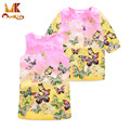 Monkids 2016 Autumn Butterfly Baby Girl Dresses Baby Suit Princess Dress Floral Print Baby Girls Clothing Sets Kids Clothes