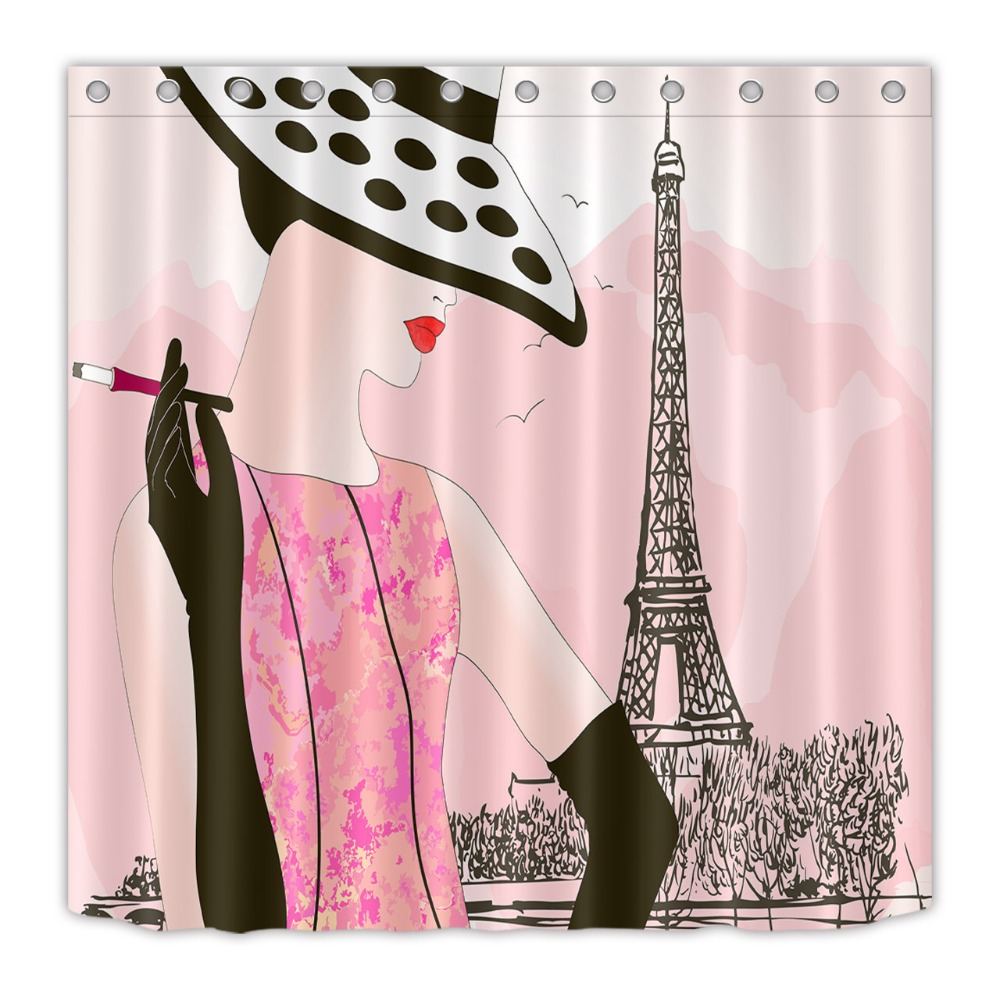 Waterproof Fabric Modern Make Up Women Paris Tower Scenery Bathroom Shower Curtain Polyester Bath Products In Curtains From Home