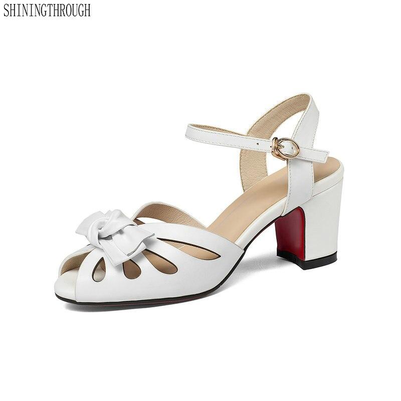 แบรนด์ใหม่รองเท้าสตรีรองเท้าแตะฤดูร้อนรองเท้ารองเท้าส้นสูง 2018 bowties ทำด้วยมือแฟชั่นรองเท้าแตะหนังแท้รองเท้าผู้หญิงรองเท้าแตะ-ใน รองเท้าส้นสูง จาก รองเท้า บน   1