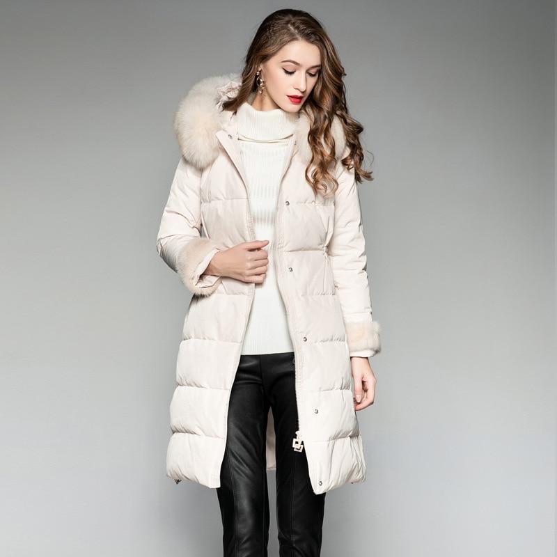 Long   Coat     Down     Coat   Winter White Duck Women   Down   Jacket Manteau Femme