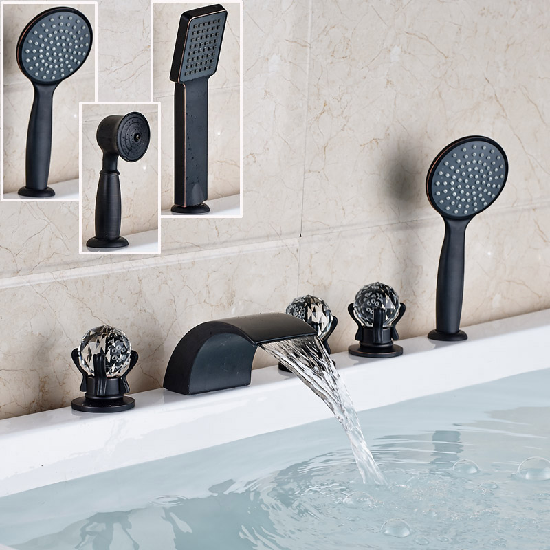 Oil Rubbed Bronze Deck Mounted Waterfall Bathtub Faucet Widespread Tub Mixer Taps with Handshower 3-styles