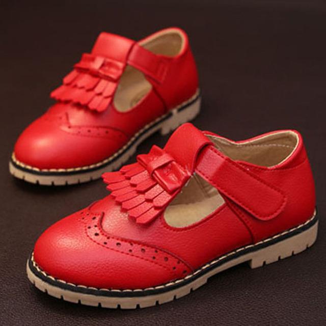 2017 da Coréia Do Estilo Crianças Meninas Sapatos de Couro T Cintas Crianças Meninas Vestir Sapatos Princesa Britânica Sapatos Tamanho 10-3