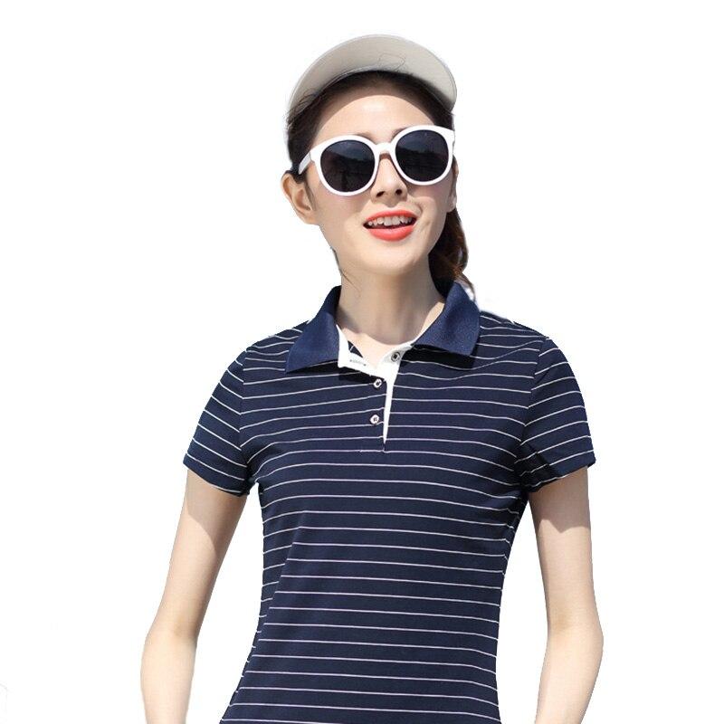 Ženy Stripe Polo Shirt Bavlněné Krátké rukávy Dámské Polo Shirt Pevné Roupas Značkové oblečení Kamery Dívky Proužky Móda