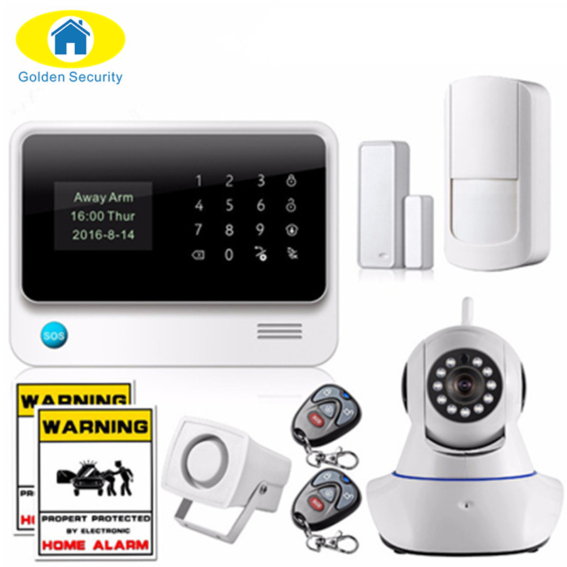 Golden Security  Russian/Spanish/English/French voice 2G WiFi Alarm System Home Security GSM Alarm System with IP Camera цена и фото