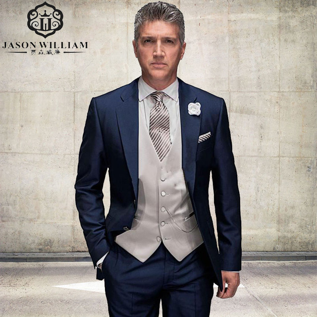 LN102 Custom Made wedding suit Navy Blue Fathers Suit 2017 Groom ...