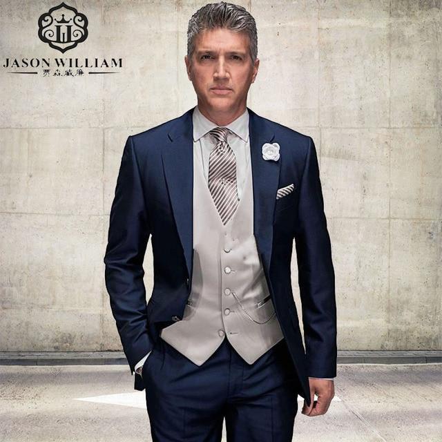 cc767a6230 LN102 traje de boda por encargo azul marino padres traje 2017 smokinges del  novio Mens traje