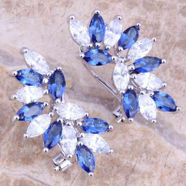 Blue  Cubic Zirconia White CZ 925 Sterling Silver  Clip Huggie Earrings For Women  S0238