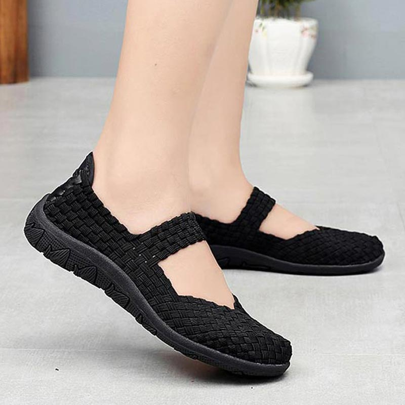 Woven Summer Sport Sneakers Woman Breathable Women Running Shoes Lightweight Tennis Female Slip-on Sports Shoes Black 2019 A-337