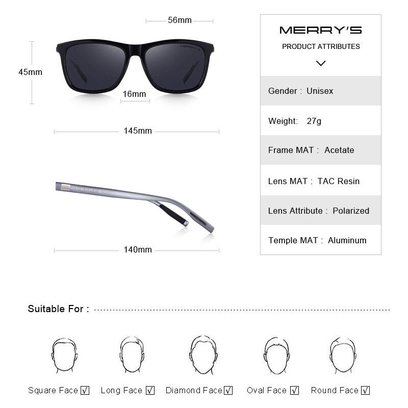 Image 4 - MERRYS DESIGN Men Women Classic Square Polarized Sunglasses Aluminum Legs Lighter Design UV400 Protection S8286-in Men's Sunglasses from Apparel Accessories
