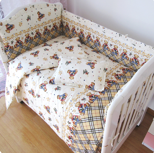 Promotion! 9PCS Whole Set Crib Bedding Set For Childrens Bed Crib Set Baby Bedding , 120*60/120*70cm
