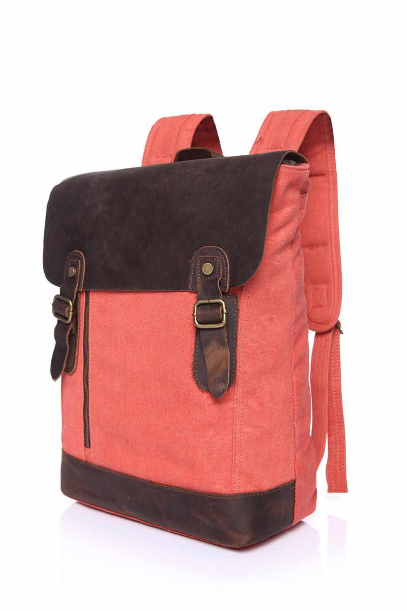 Nesitu Высокое качество Прочный Винтаж серый синий хаки красное полотно женские и мужские рюкзаки мужские дорожные сумки Crazy Horse кожа # M6659