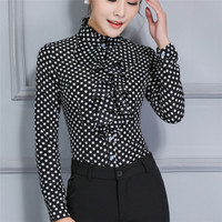 Women Career Fitted Polka Dot Lace Tops Ruffle High Neck Long Sleeve Shirt Blouse Slim Fit