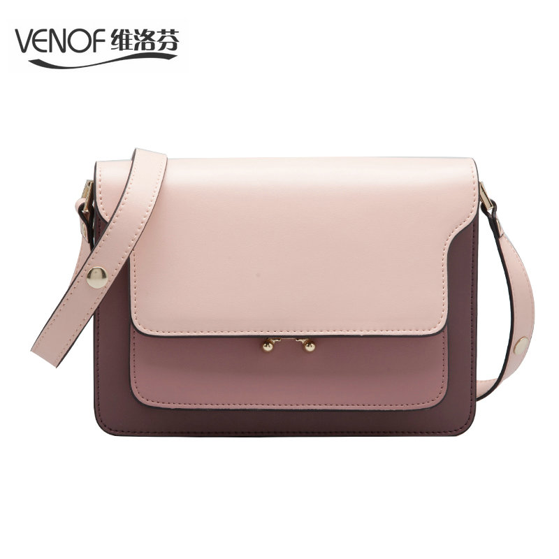 VENOF luxury split leather women shoulder bags contrast color Casual female crossbody bag elegance ladies messenger bag for 2018 stripe contrast split pants