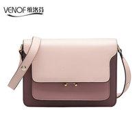 VENOF luxury split leather women shoulder   bags   contrast color Casual female crossbody   bag   elegance ladies messenger   bag   for 2018