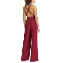 Sexy V-Neck Backless Jumpsuits Women High Waist Summer Jumpsuit Ladies Vintage Solid Rompers Multiple Wear Methods