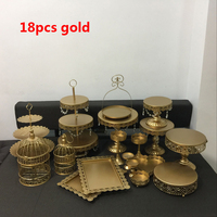 gold and whit wedding cake stand set 18 pieces cupcake stand barware decorating cooking cake tools bakeware set party dinnerware