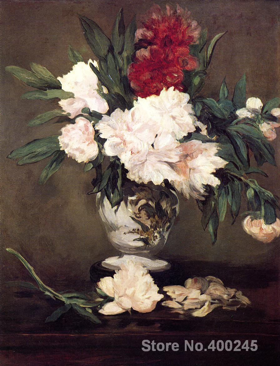 Vase of Peonies on a Small Pedestal by Edouard Manet paintings For sale Home Decor Hand painted High quality