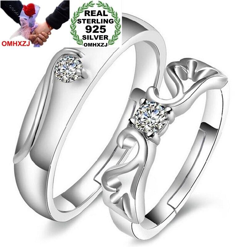 OMHXZJ оптовая продажа, модное романтическое кольцо для влюбленных ангелов с фианитом ААА, серебро 925 пробы, открытое регулируемое женское кол...