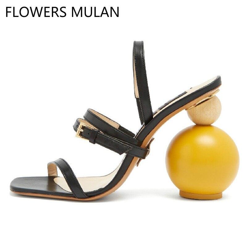 Mode géométrique bloc talon sandales femmes noir bout ouvert étrange talons hauts bande étroite été gladiateur sandales femmes chaussures