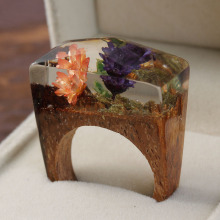 DoreenBeads Resin Secret Wood Ethereal Blossom Flower Wood Ring Multicolor Faceted Rectangle 16 9 19 1mm