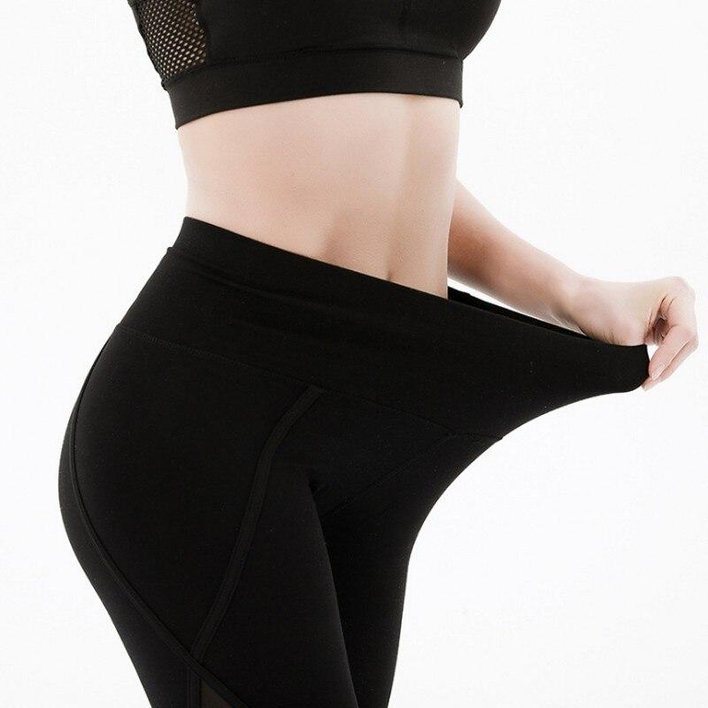 Women High Waist Yoga Pants Tight fitness Leggings Sexy Mesh Elastic Ladies Sport