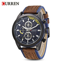 CURREN 8292 Fashion Male Quartz Watch Multifunctional Six Pointers Date Big Dial Wristwatch For Men 6 Colors Available
