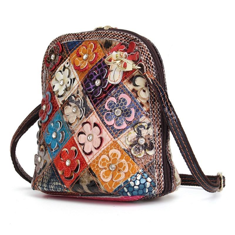Women Genuine Leather Flower Diamonds Patchwork Crossbody Shoulder Bag Handbag