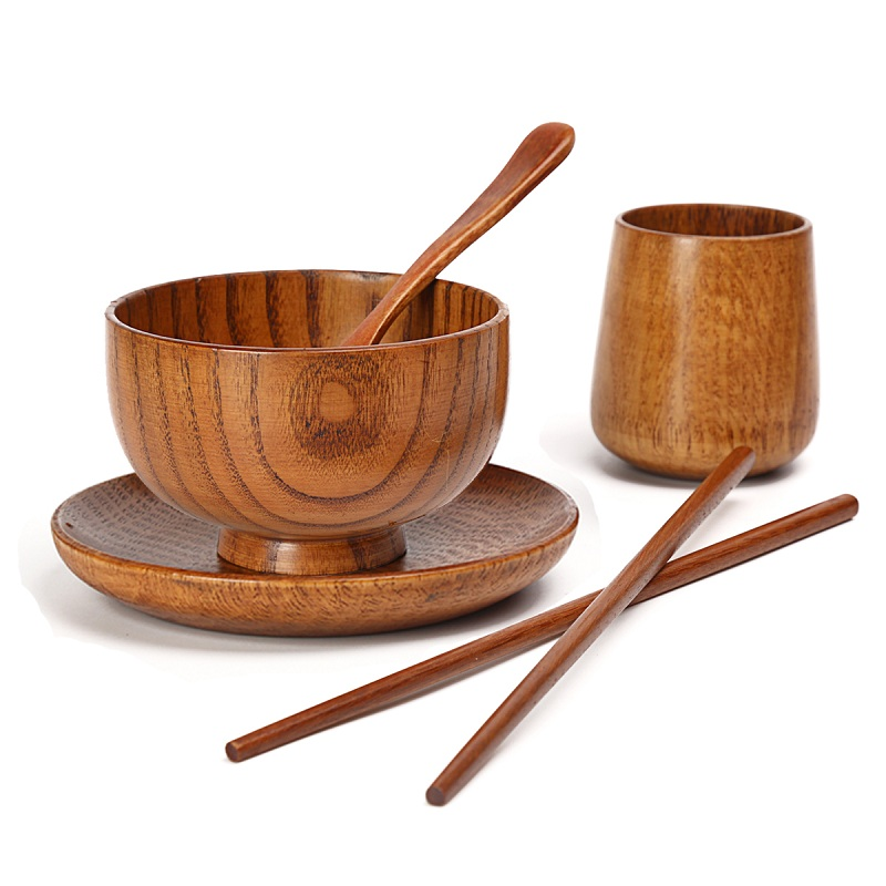 Solid wood green dishes korean wooden tableware japanese for Cuisine wooden