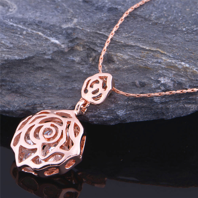 Almei Promotion Charming New 2016 Silver New Zircon Flower Jewelry Sets Rose Gold Color for Women Engagement Party Wedding T175