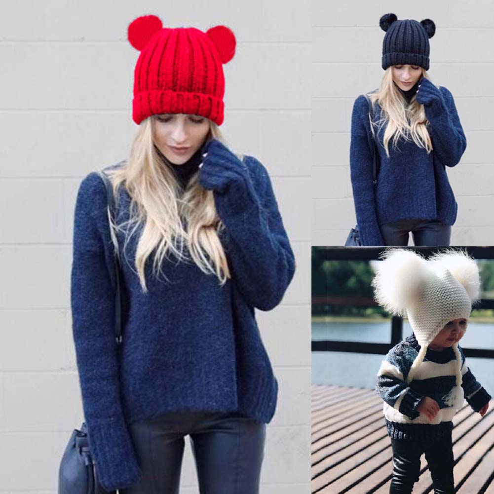Women Winter Warm Cap Cute Crochet Braided Knit Beanies Hat Pompom Ball Bonnet -MX8