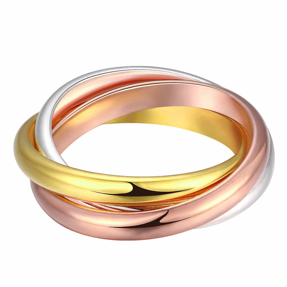 Triple Circles Gold/Rose Gold/Silver Ring Three Colors Fashion Jewelry Silver Plated Ring Women Men's Wedding Finger Rings