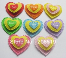 PA0004 three layers felt appliques 200pcs 8 colors 32mm*35mm heart shape DIY craft accessory