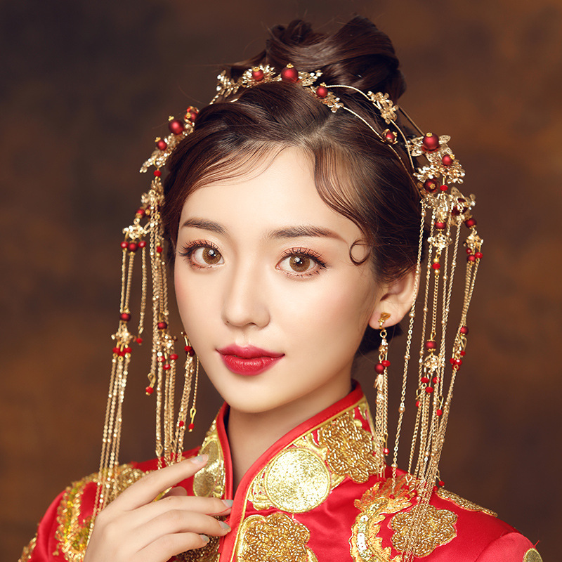 Elegant Ancient Chinese Red Beading Bridal Headdress Golden Tassel Hairpins Wedding Ornaments Hair Jewelry 1