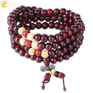 Image 2 - CSJA Religious 108 Mala Buddha Rosary Bracelet for Men 8mm Sandalwood Bead Prayer Jewelry Tibetan Wooden Bracelets Handmade S064