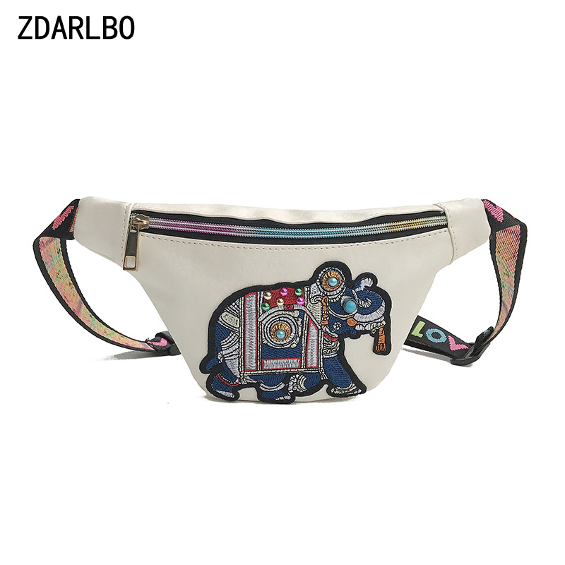 Elephant Embroidery Women's Waist Bag Banana Fanny Pack Waterproof PU Leather Shoulder Crossbody Belt Bags Female Chest Bag