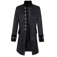 2018 Spring Mens Coat Fashion Long Jacket Frock Coat Steampunk Victorian Morning Coats Smart Jacket Black White Overcoats