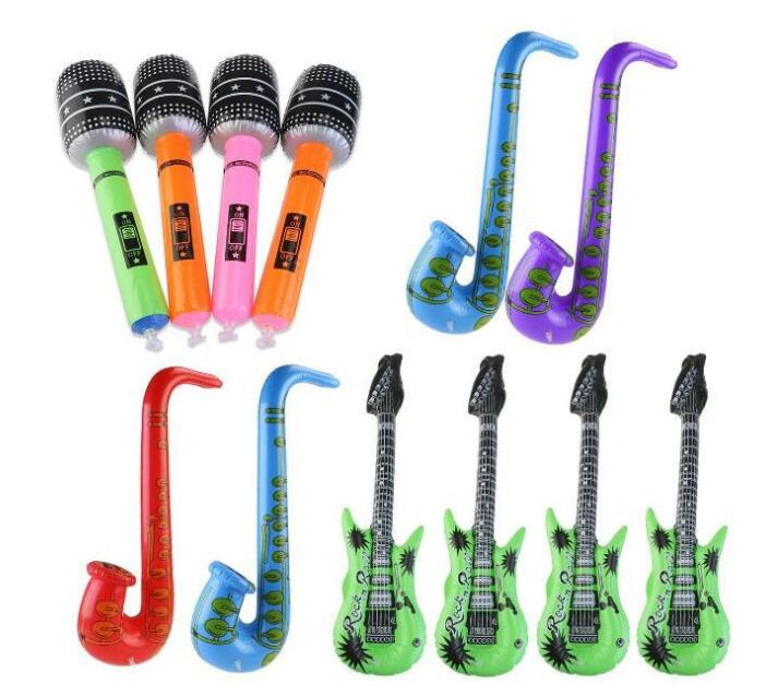3pcs (Saxophone + Guitar +Microphone) Funny Inflatable Toys Fancy Blow Up Kids Holiday Party Inflatable Rock Band Toys